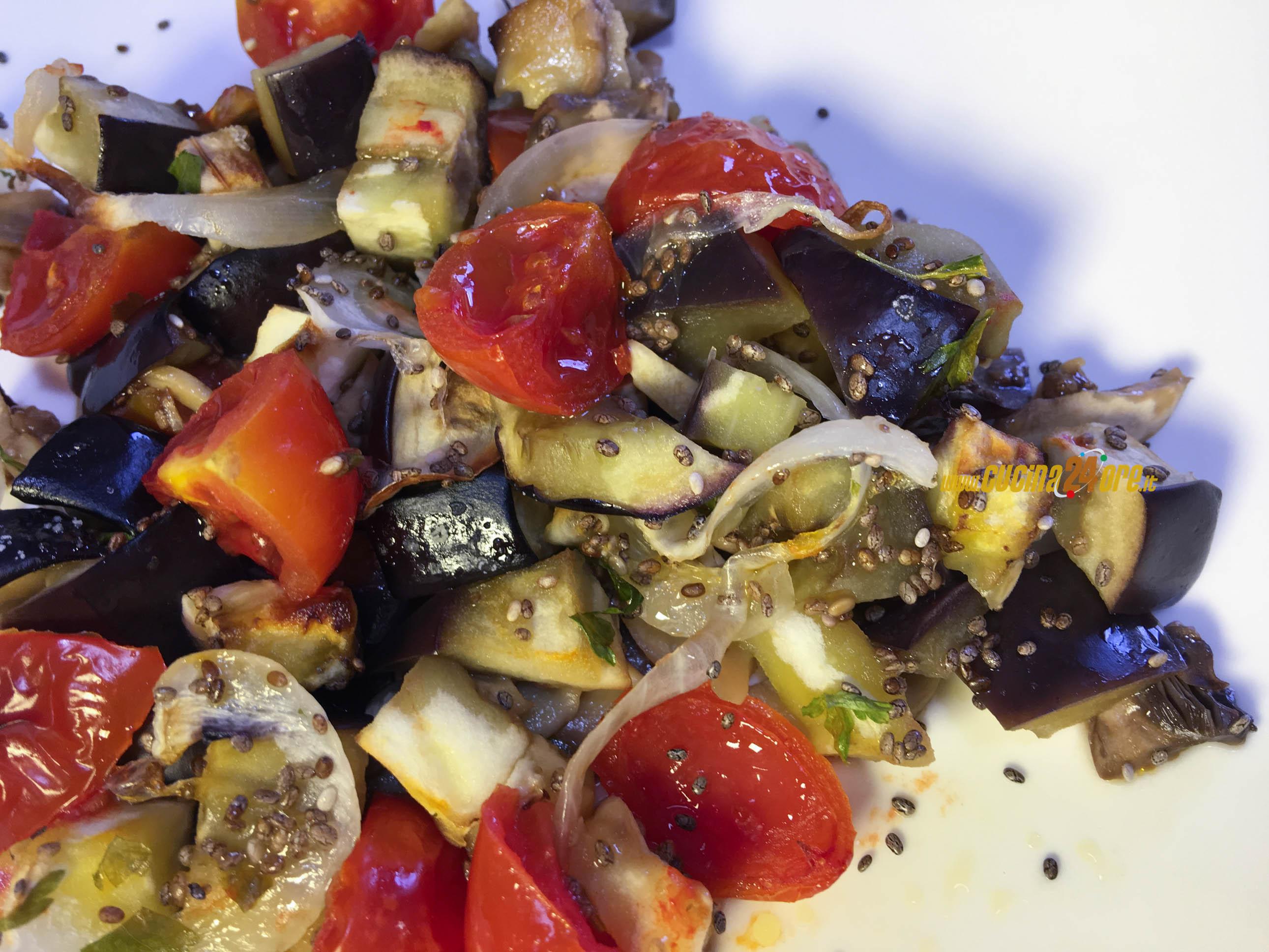 Dadolata di Melanzane, Funghi e Pomodorini con Semi di Chia