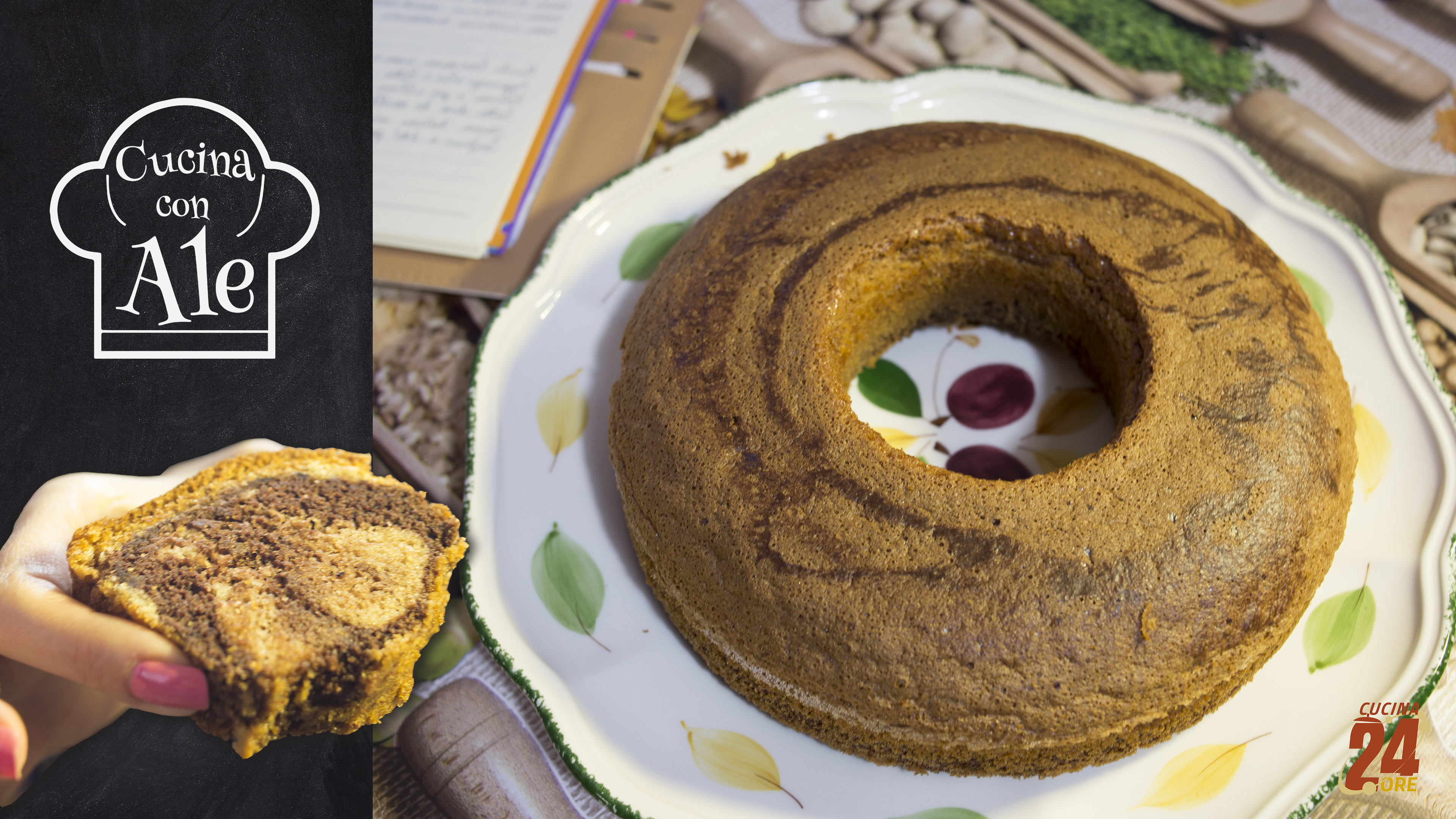 Ciambellone Marmorizzato con Farina di Riso e Cacao Senza Glutine e Senza Lievito