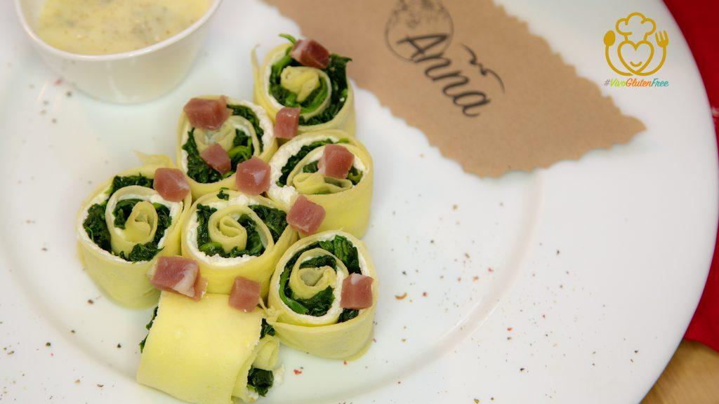 Crepes o Crespelle Ripiene di Spinaci con Salsa al Gorgonzola! L'Antipasto di Natale