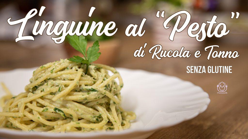 Linguine Con Pesto di Rucola e Tonno Senza Glutine, Condimento a Freddo in 2 Minuti nel Frullatore