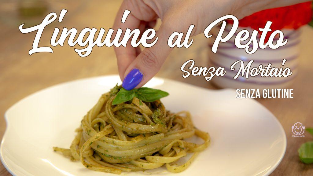 Linguine al Pesto di Basilico Fresco Senza Glutine. Ricetta Facile e Veloce