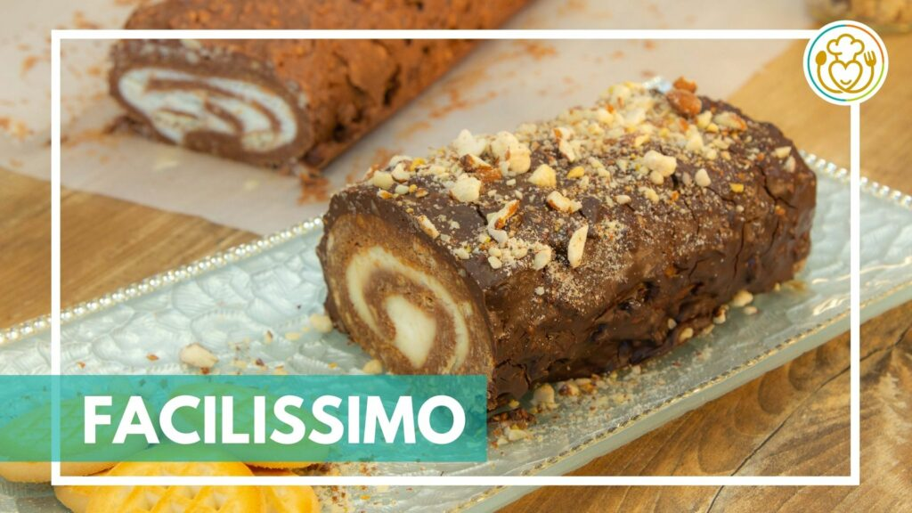 Rotolo di Biscotti Senza Glutine al Cioccolato con Crema al Mascarpone